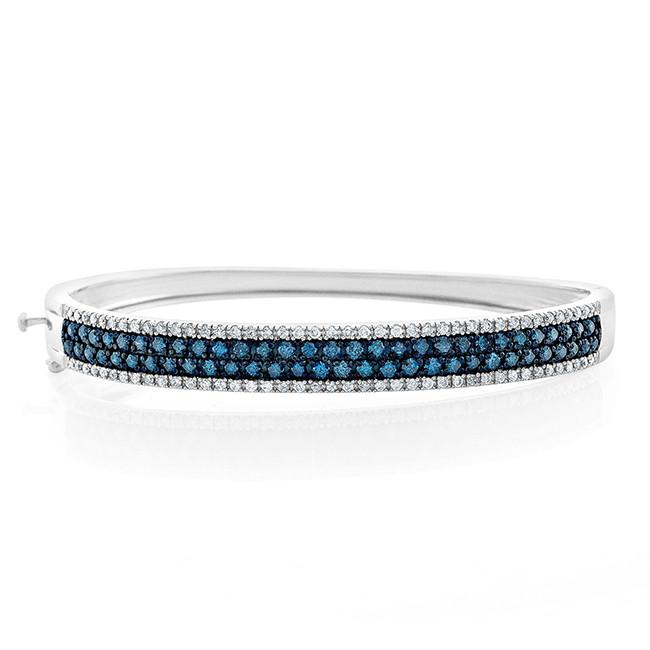 2.00 Carat Blue & White Diamond 2 Row Bangle Bracelet in Sterling Silver - 7.5""