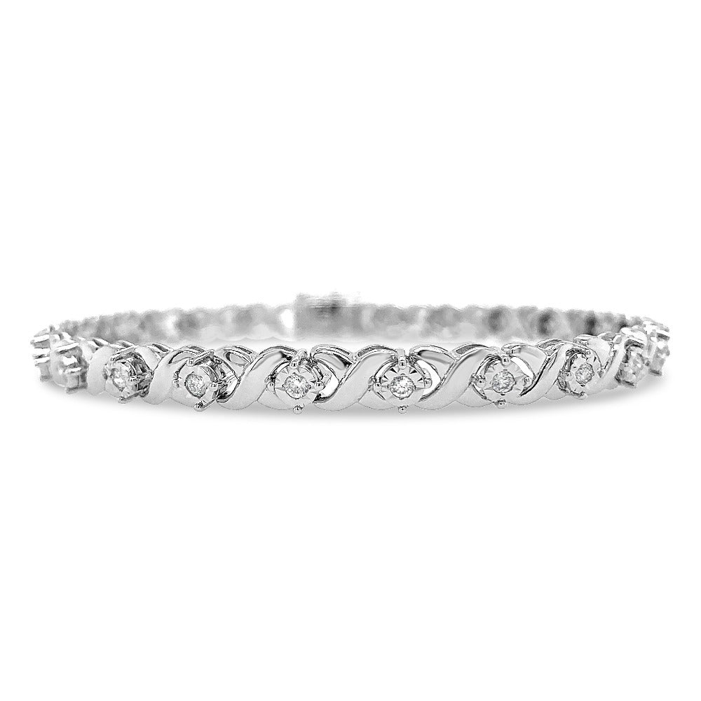 3/8 Carat Diamond Bracelet in Sterling Silver - 7.5""