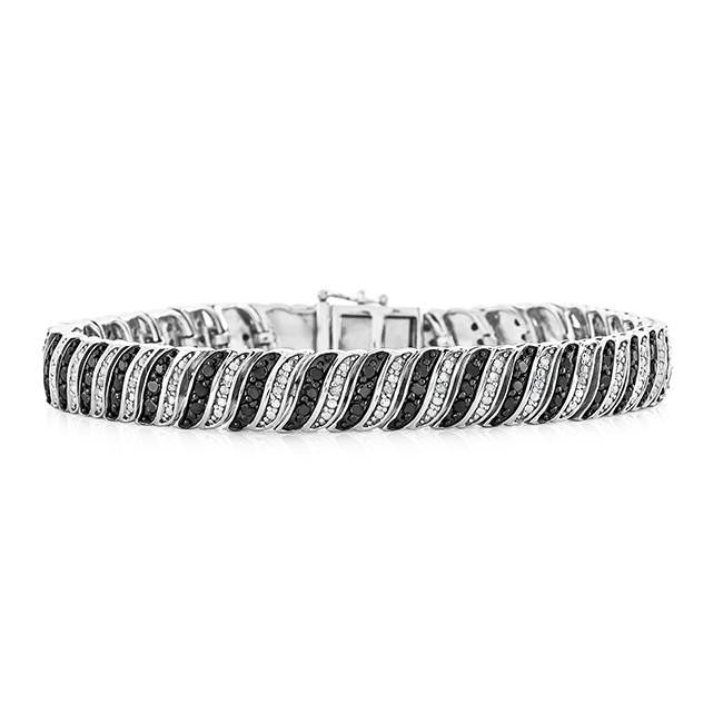 2.00 Carat Black and White Diamond Bracelet in Sterling Silver - 7.5""