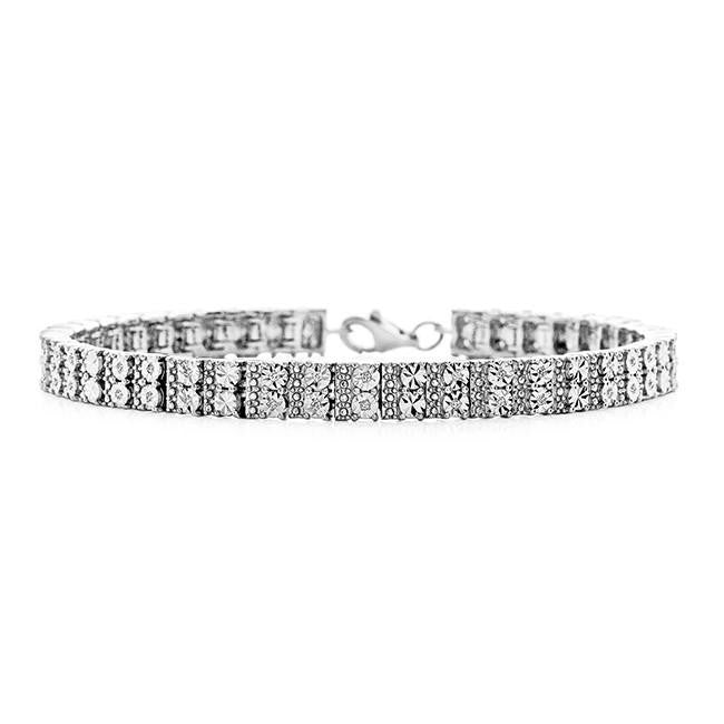Diamond Miracles: 0.20 Carat Diamond Straight Link Bracelet - 7.5""