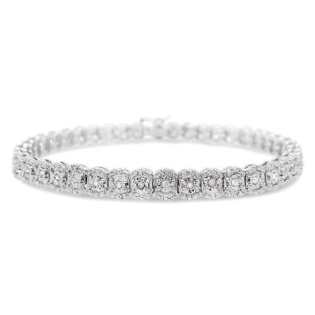 1/2 Carat Diamond Bracelet in Sterling Silver - 7.5""