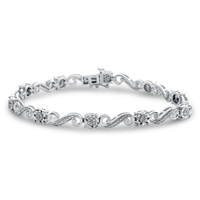 Diamond Miracles: 0.25 Carat Diamond Fancy Link Bracelet in Sterling Silver - 7.25""