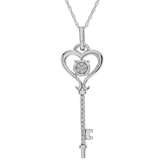 Diamond Accent Key Pendant in Sterling Silver with Chain - 18""