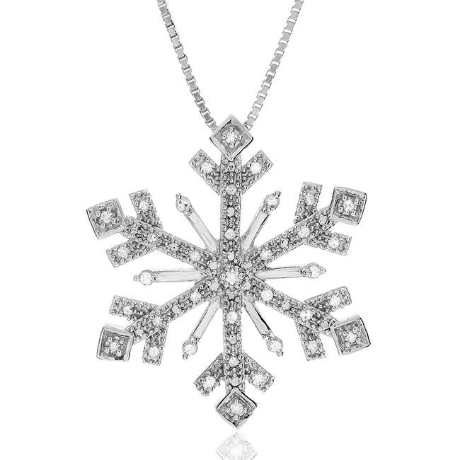 0.25 Carat Diamond Snowflake Pendant in Sterling Silver with Chain