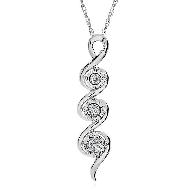 Diamond Accent Multi-Cluster Pendant in Sterling Silver - 18""