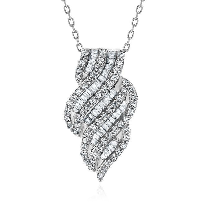 1.00 Carat Diamond Designer Pendant in Sterling Silver with Chain