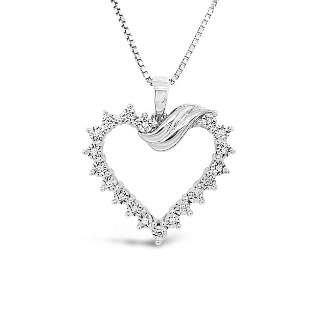0.08 Carat Diamond Heart Pendant in Sterling Silver with Chain