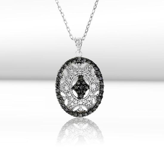 Black & White Diamond Vintage-look Pendant in Sterling Silver with Chain
