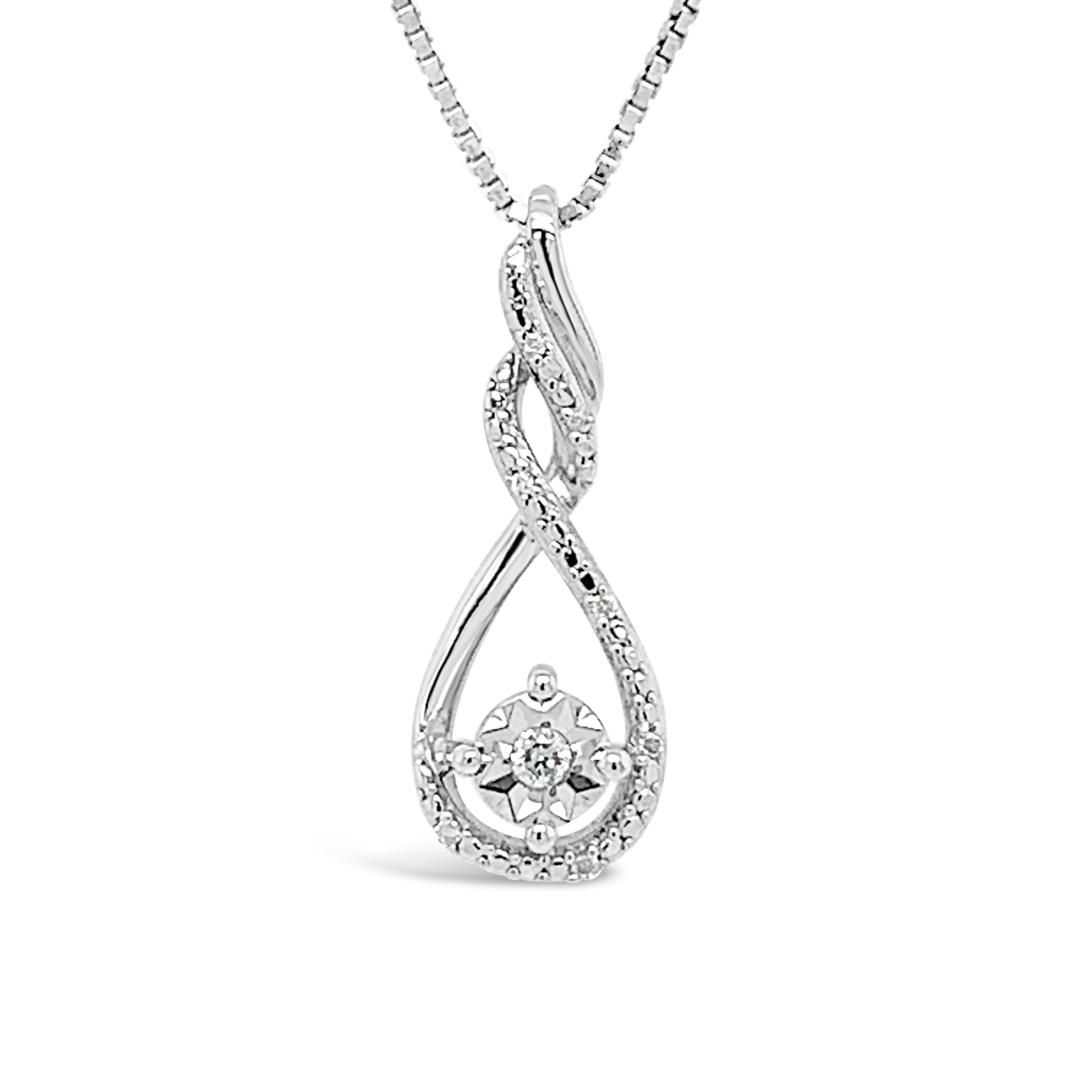 Diamond Accent Infinity Pendant in Sterling Silver with Chain - 18""