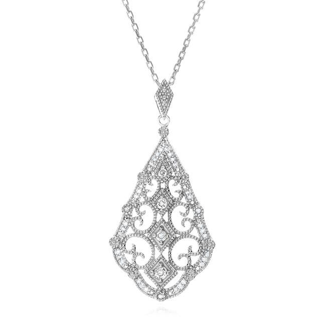 1/8 Carat Diamond Pendant In Sterling Silver with Chain