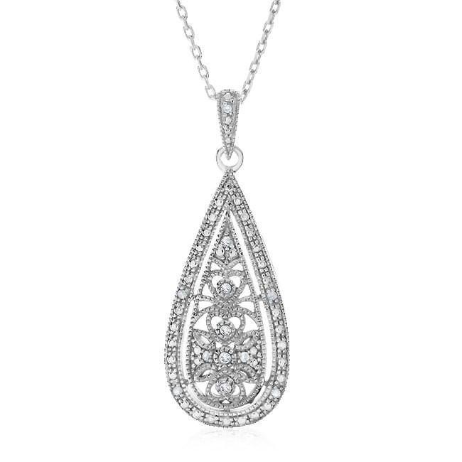 0.15 Carat Diamond Filigree Pendant In Sterling Silver w/ Chain