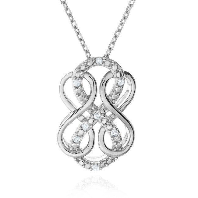 Diamond Accent Triple Infinity Pendant In Sterling Silver with Chain