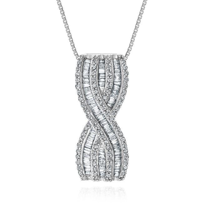 1.00 Carat Diamond Crossover Pendant in Sterling Silver with Chain