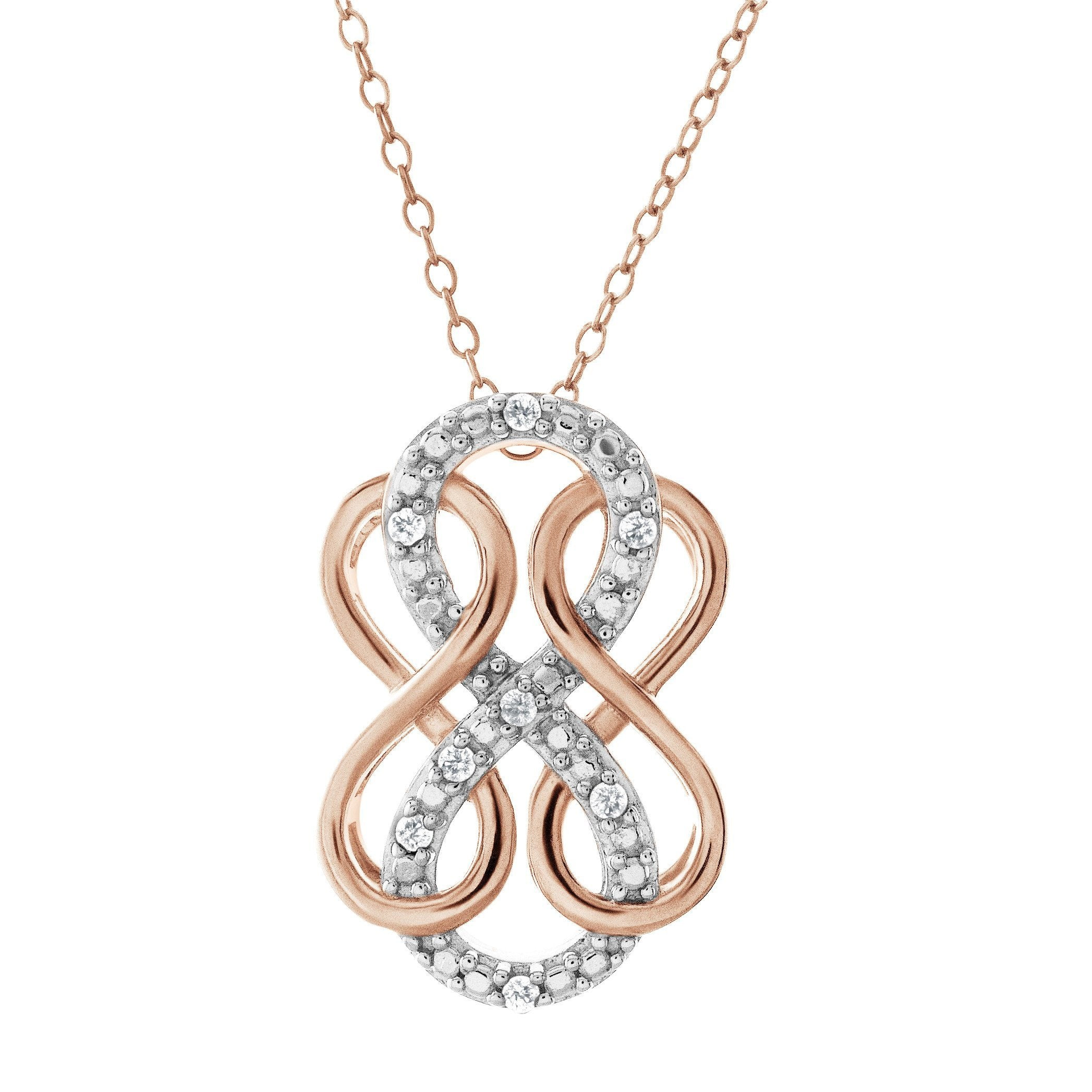 Diamond Accent Triple infinity Pendant In Rose Gold-Plated Sterling Silver -18""