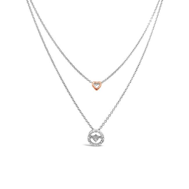1/10 Diamond Carat Halo & Heart Necklace in Sterling Silver - 18""