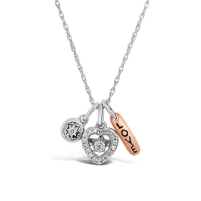 1/10 Carat Diamond LOVE Charm Necklace in Sterling Silver - 18""