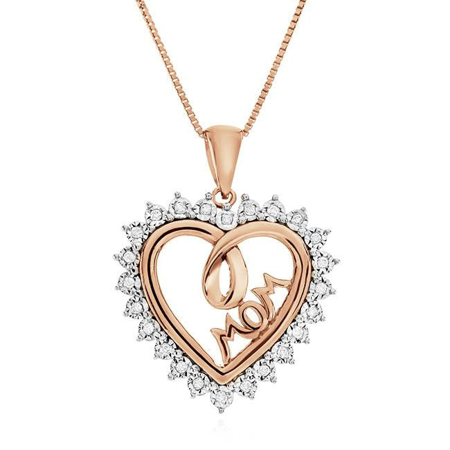 1/10 Carat Diamond Heart Mom Pendant in Rose Gold-Plated Sterling Silver - 18""