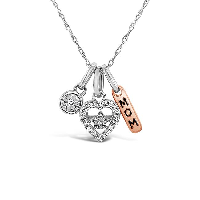 1/10 Carat Diamond MOM Charm Necklace in Sterling Silver - 18""