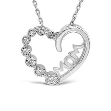 Load image into Gallery viewer, 1/10 Carat Mom Heart Pendant in Sterling Silver with Chain