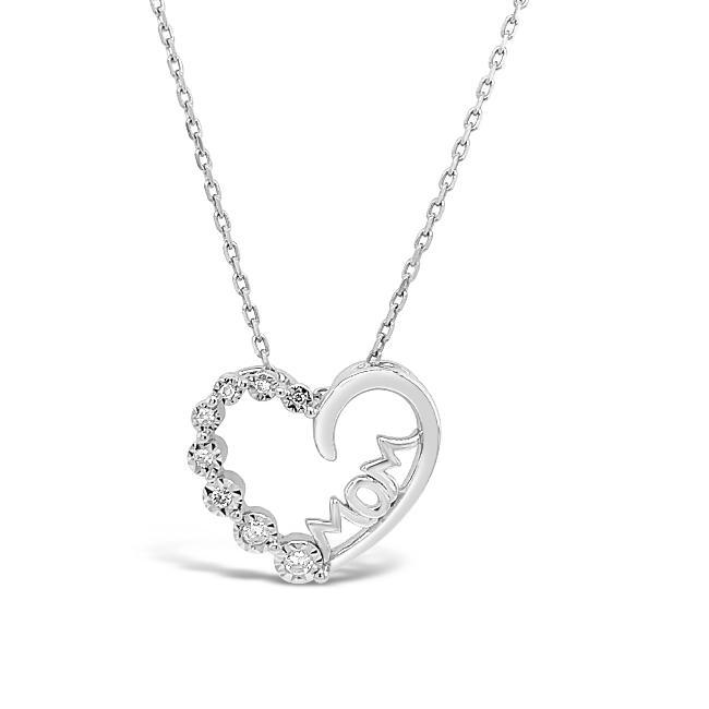 1/10 Carat Mom Heart Pendant in Sterling Silver with Chain