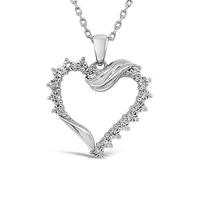Diamond Miracles: 0.08 Carat Diamond Heart Pendant in Sterling Silver - 18""