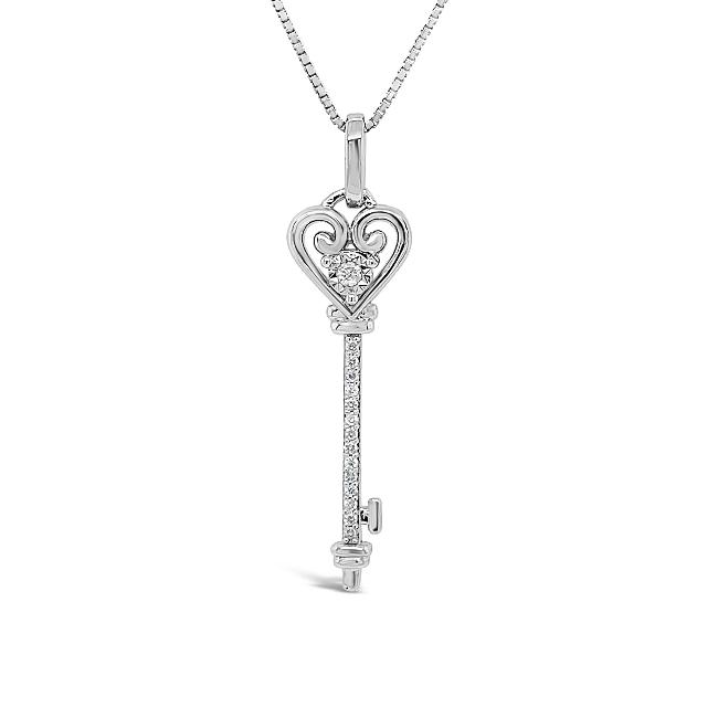 1/10 Carat Diamond Heart Key Pendant in Sterling Silver with Chain