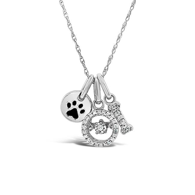 1/10 Carat Diamond Dog Lover Charm Necklace in Sterling Silver - 18""