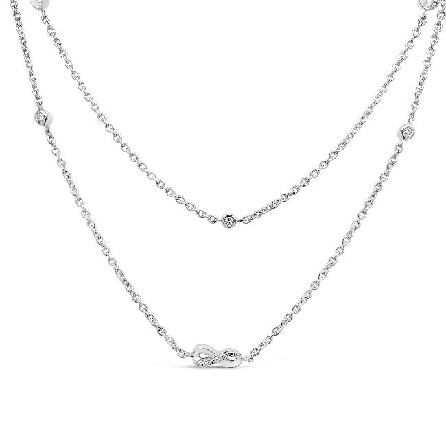 1/4 Carat Diamond Infinity Station Necklace in Sterling Silver - 36""