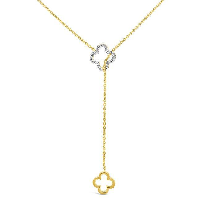 0.14 Carat Diamond Clover Necklace in Yellow Gold-Plated Sterling Silver - 17""