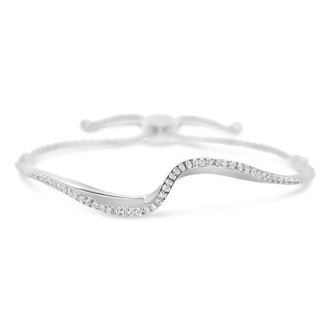 1/6 Carat Diamond Wave Bolo Bracelet in Sterling Silver