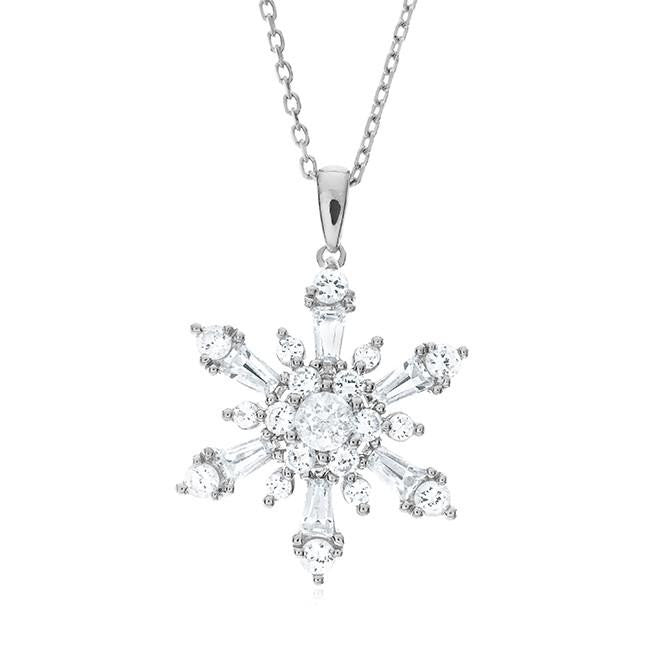 2.30 Carat White Sapphire Snowflake Pendant in Sterling Silver with Chain
