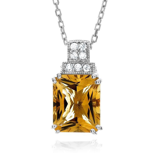 4.25 Carat Genuine Citrine Pendant in Sterling Silver with Chain