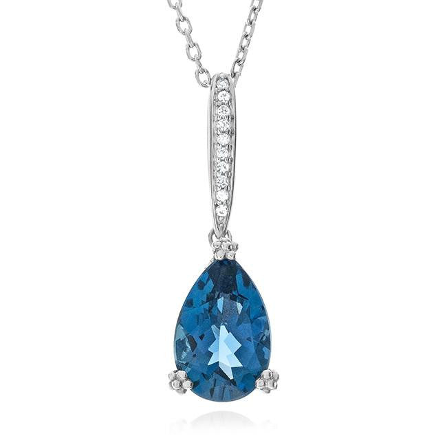 3.55 Carat Genuine London Blue Topaz Pendant in Sterling Silver with Chain