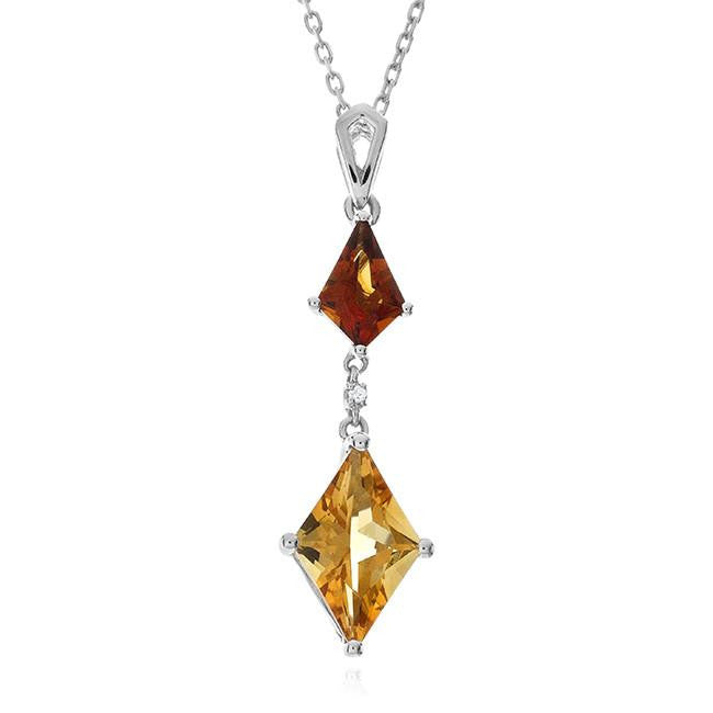 3.55 Carat Genuine Madeira Citrine Pendant in Sterling Silver with Chain