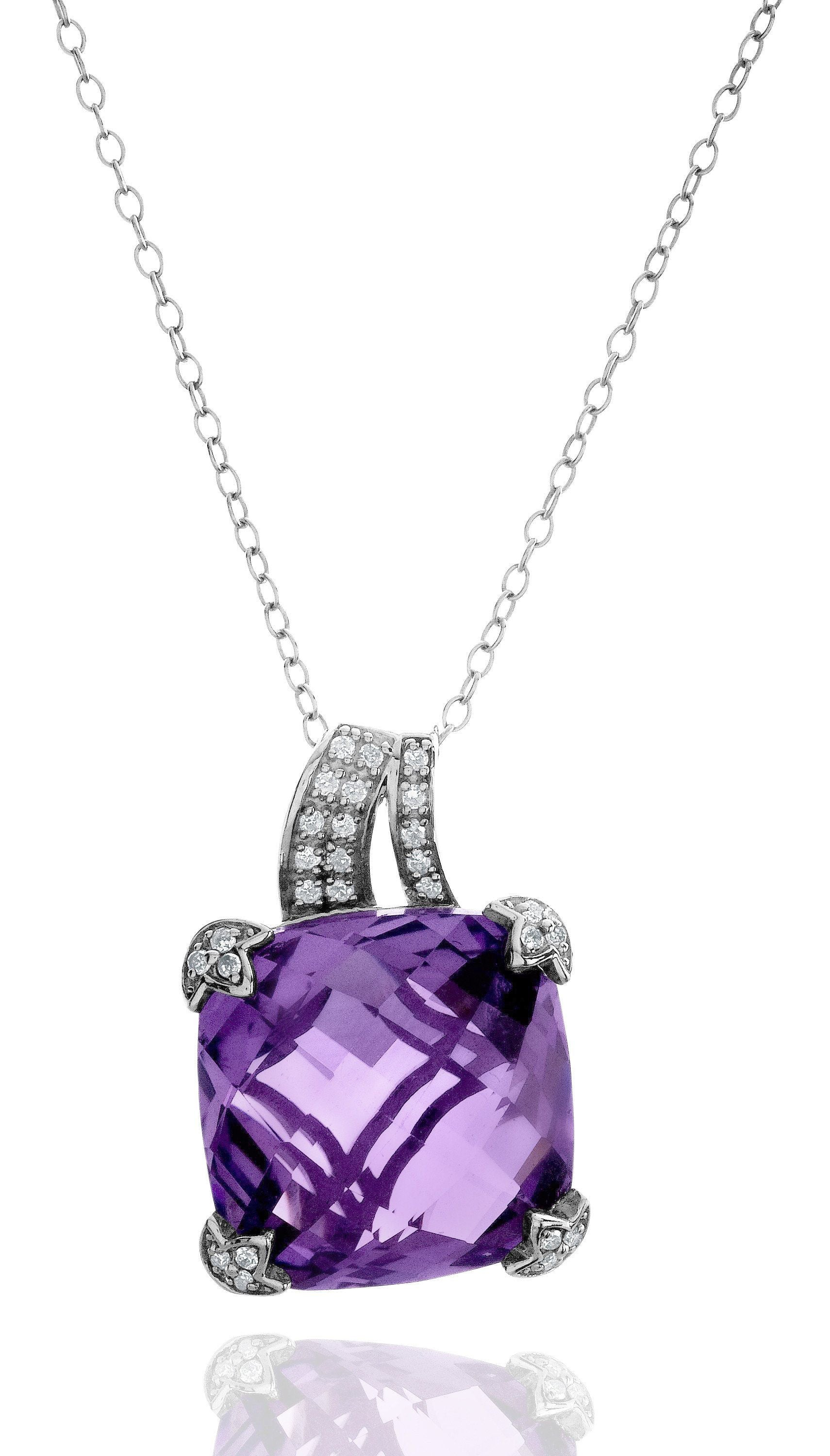 "9.80 Carat Genuine Amethyst & Diamond Pendant in Sterling Silver with 18"" Chain"