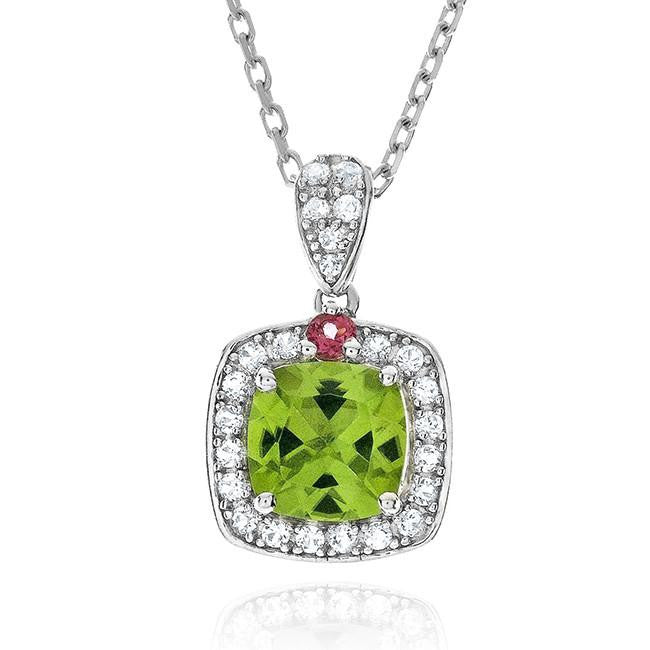 1.80 Carat Genuine Peridot & Tourmaline Pendant in Sterling Silver with Chain