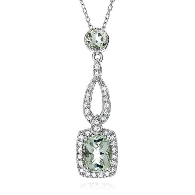 2.75 Carat Genuine Green Amethyst Pendant in Sterling Silver with Chain