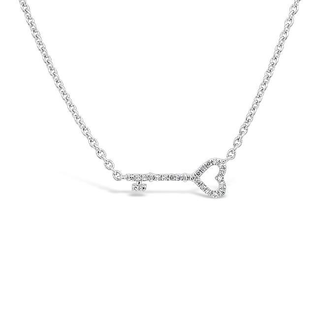 Diamond Accent Key Fashion Necklace in Sterling Silver - 16""