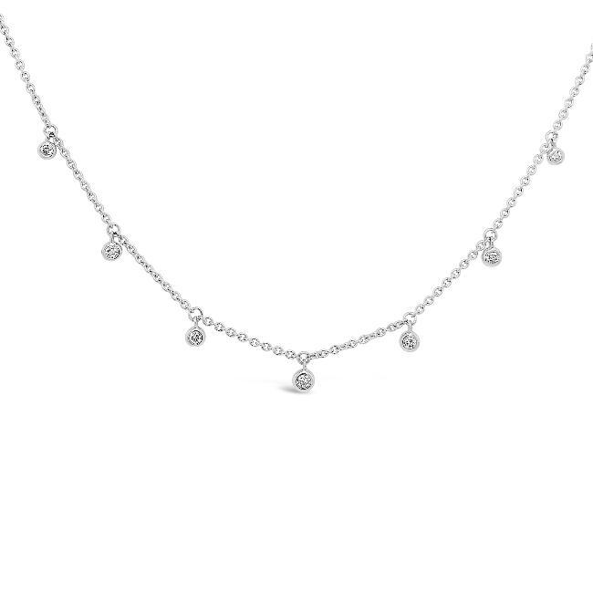 1/6 Carat Diamond Stations Choker Necklace in Sterling Silver