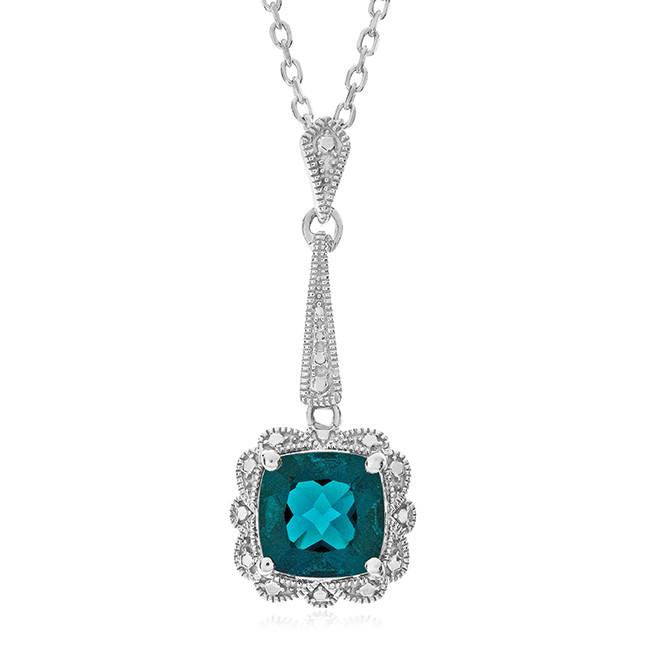 1.60 Carat Emerald Pendant in Sterling Silver with Chain