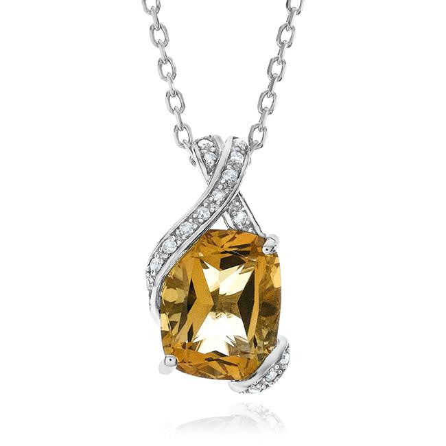 3.00 Carat Genuine Citrine & Diamond Pendant in Sterling Silver with Chain