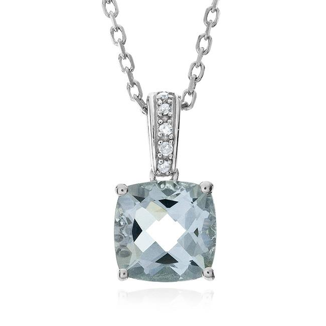 1.66 Carat Genuine Aquamarine & Diamond Pendant in Sterling Silver with Chain