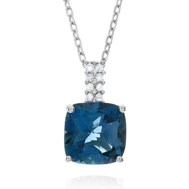 4.00 Carat Genuine London Blue Topaz & Diamond Pendant in Sterling Silver with Chain