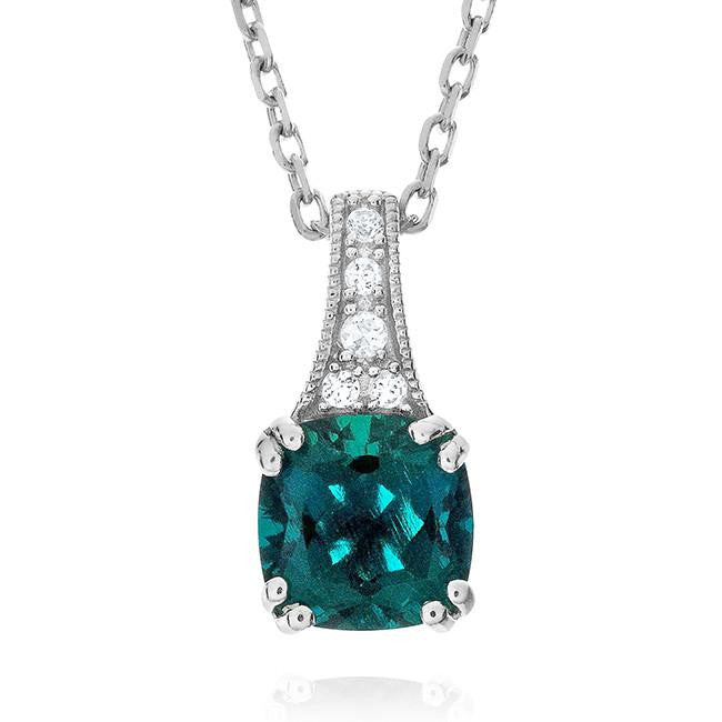 1.40 Carat Emerald & White Sapphire Pendant in Sterling Silver with Chain
