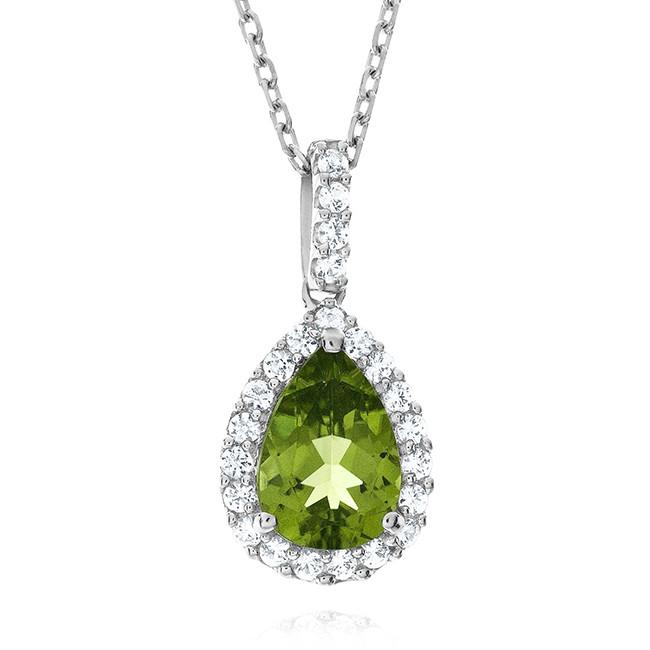 2.35 Carat Genuine Peridot Pendant in Sterling Silver with Chain