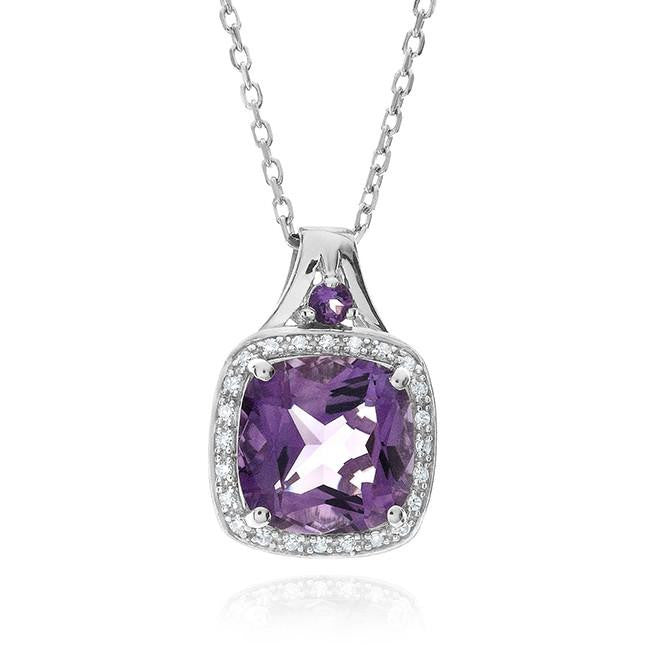 4.40 Carat Genuine Amethyst & Diamond Pendant in Sterling Silver with Chain