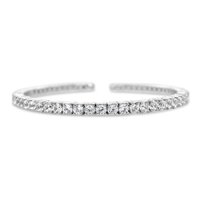 9.54 Carat Genuine White Zircon Bangle in Sterling Silver - 7""