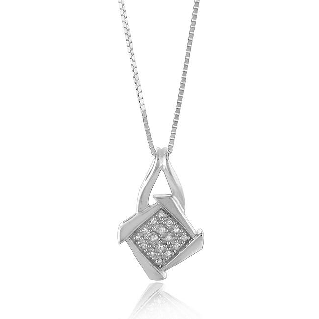 0.15 tcw Set of Diamond Accented Square Pendant and Stud Earrings in Sterling Silver