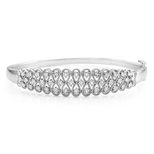 Diamond Miracles: 0.14 Carat Diamond Bangle Bracelet in Sterling Silver - 7.5""