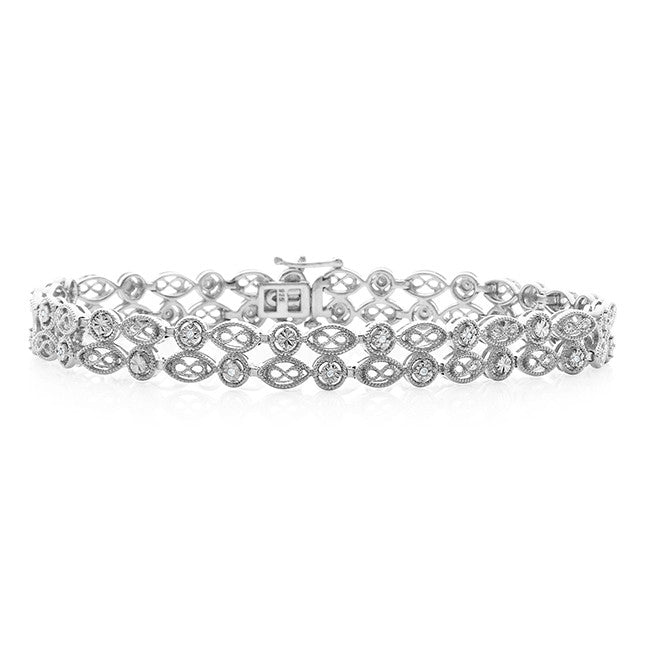Diamond Miracles: 0.10 Carat Diamond Bracelet in Sterling Silver - 7.5""